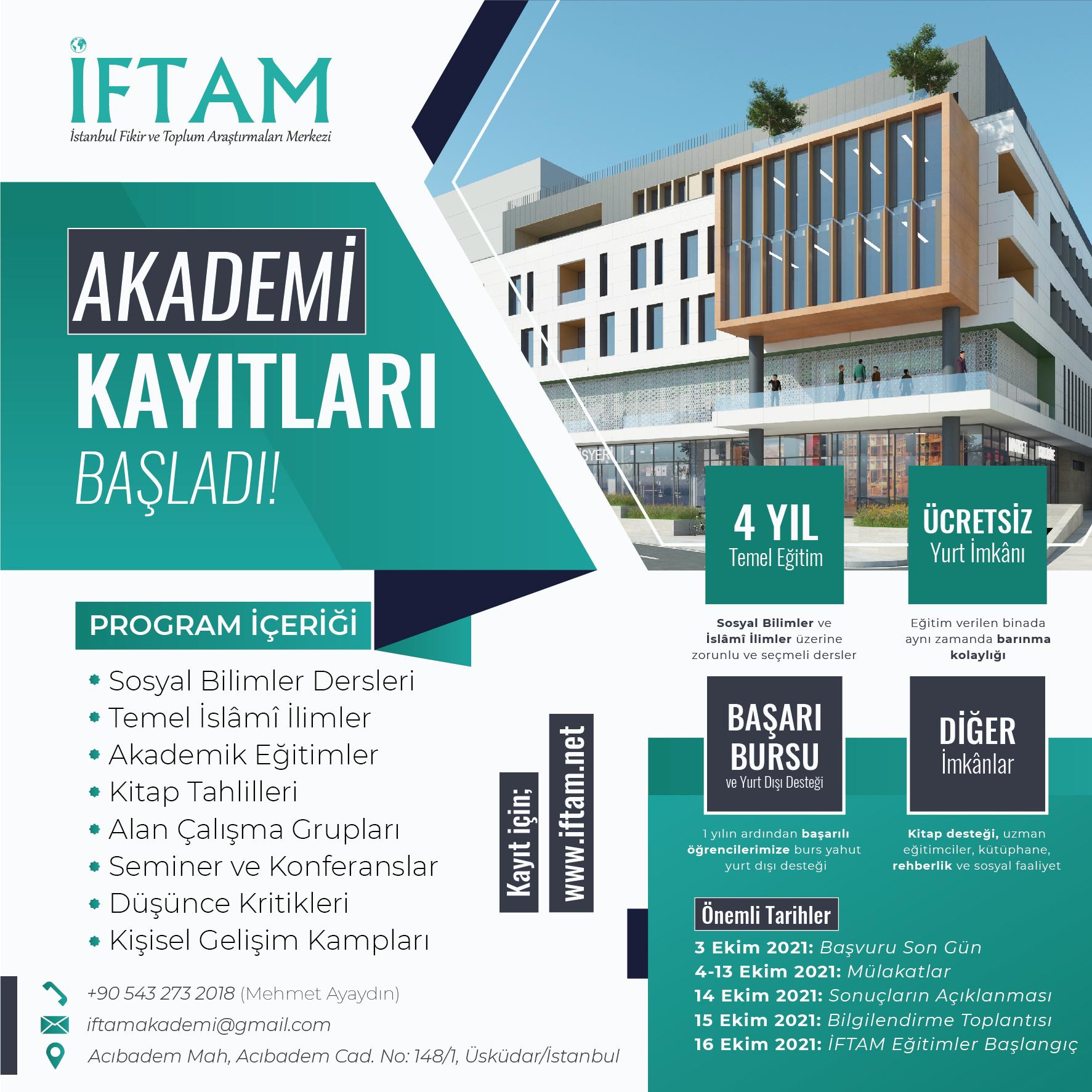 İFTAM Akademi 2021-2022 Eğitim Dönemi Kayıtları Başladı!